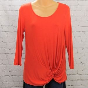 Cable & Gauge deep orange side knot top
